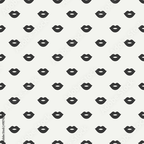 Romantic Hipster Lips Kiss Seamless Pattern Wrapping Paper Scrapbook Tiling Vector