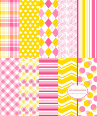 Repeating patterns for digital paper, scrapbooking, cards, invitations, gift wrap and paper backgrounds. File includes: floral prints, gingham/plaid, polka dots, argyle, chevron and stripes.
