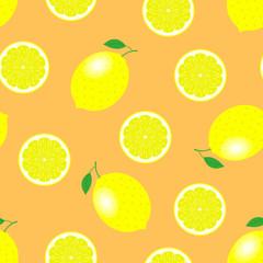 Lemons and lemon slices seamless pattern