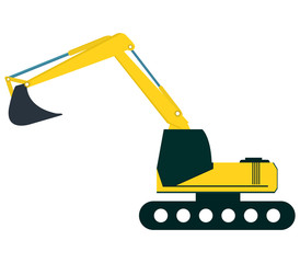 excavator on white background