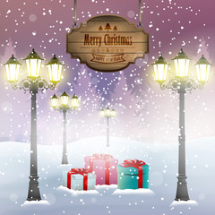 Christmas card with street lights wooden sign and present in a park, winter background.