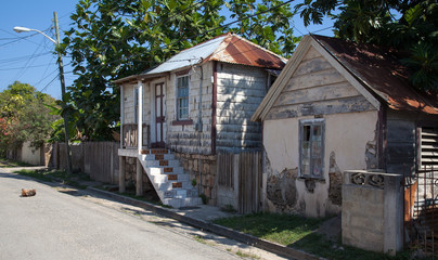 Jamaican houses; metal roofs, pastel colors, sleeping dog: cosy cottages of the Carribean