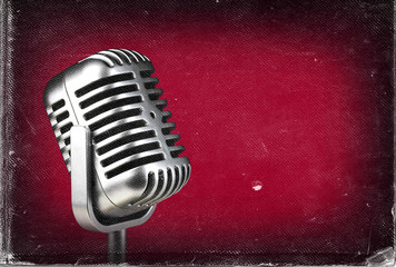 Retro microphone. Vintage style or worn paper photo image
