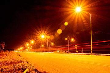 street lights at night in Chiangmai Thailand , with Lens Flare Fotomurales