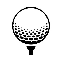 Golf ball on a tee line art icon for sports apps and websites