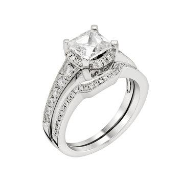 Diamond white gold ring.Isolated on white background