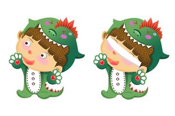 Illustration For Children: The Green Dragon Skin Boy. Realistic Fantastic Cartoon Style Artwork / Story / Scene / Wallpaper / Background / Card Design