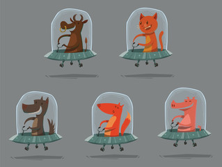 Vector Set of funny animals in UFO. Cartoon images of animals in gray flying saucers: brown cow, orange cat, gray dog, orange fox and pink pig on a light gray background.