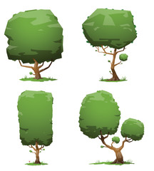 Vector Set of green trees. Image of four green trees of different shapes and sizes on a light background.