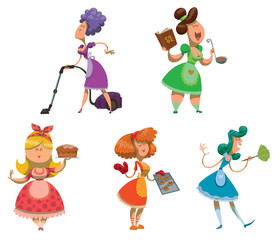 Vector cartoon image of five housewives with a different hair color in purple, green, pink, orange and blue dresses with different attributes in their hands on a light background.