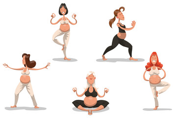 Vector Set of pregnant ladies doing yoga. Cartoon image of a pregnant ladies in a sports bra and pants doing yoga on a light background.