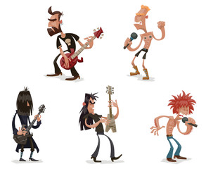 Vector Set of rock musicians. Cartoon image of five funny rock musicians with different appearance in various poses with guitars and microphones on a light background.