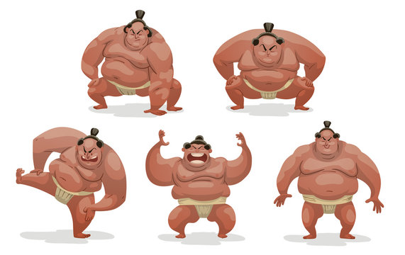 Vector Set of Sumo wrestlers. Cartoon image of five huge Sumo wrestlers in white mawashi in various poses on a light background.