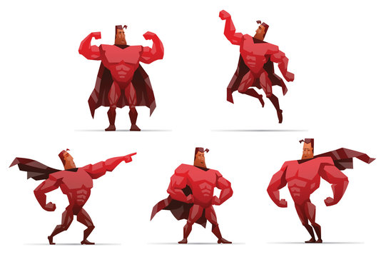 Vector Set of Superheroes in red. Cartoon image of five superheroes in red clothes and coats in various poses on a light background.