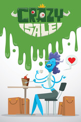 Vector advertising flyer with green slime on top, and with cartoon image of a funny blue monster female with purple hair with bunch of beige bags from stores, from the bottom on a light background.