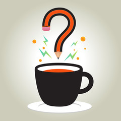 Idea from coffee cup with question mark