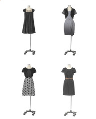 full-length four female clothes on a mannequin
