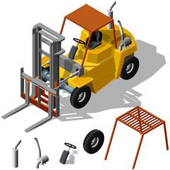 Forklift loader shadowed