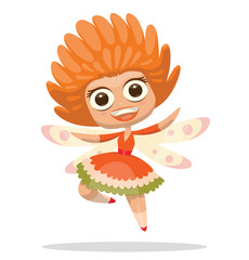 Vector Cute fairy with orange hair. Cartoon image of a cute female fairy with big eyes, curly orange hair, with a light pink wings in an orange-green-white dress on light background.
