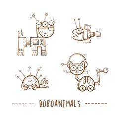 Cartoon robots animals  set. Vector image. Doodle stile.