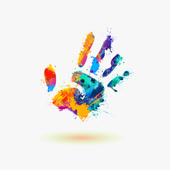 Hand of paint stains. Rainbow splash