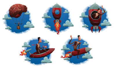 Vector set of blue round cloud labels with cartoon image of a businessman in a brown suit that seeks to start up on the red rockets, brain balloon, spaceship on a light background.