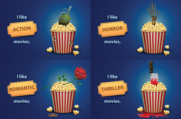 Set of banners with red and white striped popcorn buckets and various elements of different types of films: action, horror, romantic story, thriller on a bright blue background.