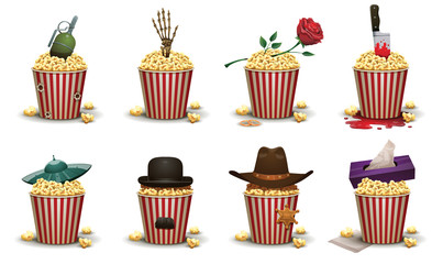 Vector Set of popcorn baskets with different elements movies. Set of red and white striped popcorn buckets and various elements of different types of films on a light background.