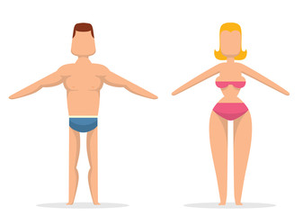 Vector cartoon image of a slender man with brown hair in blue trunks and slender woman with blond hair in a pink bathing suit, drawn in a simple style on a light background.