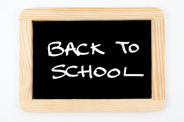 Vintage Chalkboard with wooden frame isolated on white, message Back To School