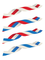 Abstract blue white red ribbon flag