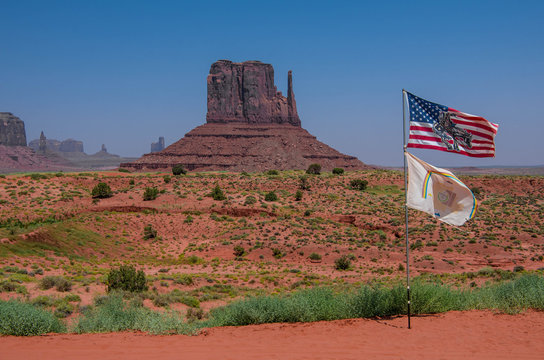 monument valley with amaerican flag