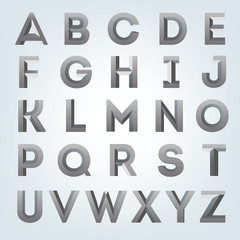 Creative gray 3d alphabet set. Beautiful bold font.