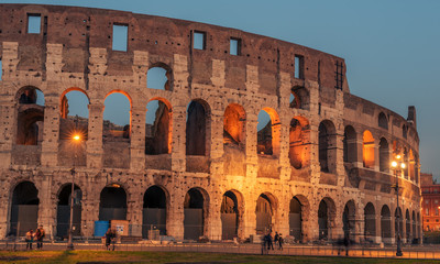 Wall Mural - Rome, Italy: Colosseum, Flavian Amphitheatre, in the sunset