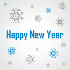 Happy New Year text label on a red background with snow and snowflakes