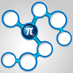 Vector blue frames for your text and pi symbol