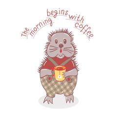 cartoon hedgehog is drinking tea