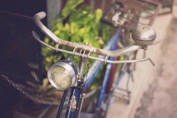 Old bicycle with light in retro style