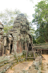 Details of the restoration work on the temple Banteay Kdei, within the temple complex of Angkor, Siem Reap, Cambodia
