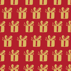 Seamless vector pattern with gift
