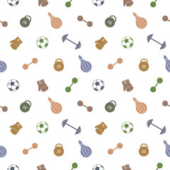 Seamless vector pattern.  Background with colorful sports equipment. Soccer ball, punching bag, gloves, barbells, dumbbells and weight.