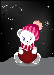 wnite teddy bear with red heart