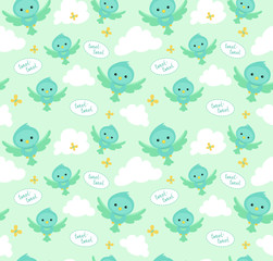 Seamless pattern with funny cartoon birds. Endless background.