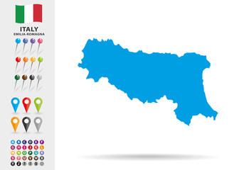 Map of Emilia Romagna in Italy