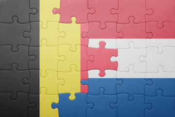 puzzle with the national flag of netherlands and belgium