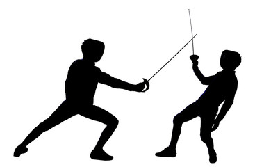 Fencing athletes silhouette isolated in white background