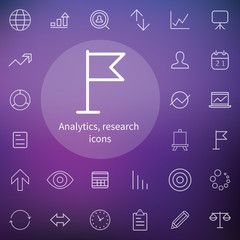 analytics, research outline, thin, flat, digital icon set
