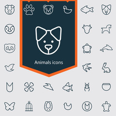 animals outline, thin, flat, digital icon set