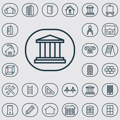 architecture outline, thin, flat, digital icon set