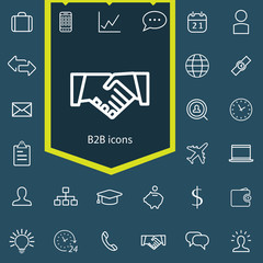 B2B outline, thin, flat, digital icon set